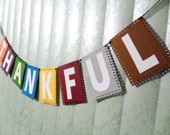 Thankful Banner, Thanksgiving Banner, Fall Colors, Autumn Banner, Thankful Bunting, Thanksgiving Decor, Cardstock Banner, Thankful Garland