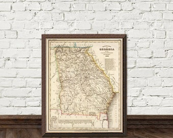 Georgia map print - Old map of Georgia - Historic maps reproduction