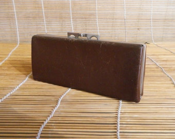 Vintage Brown Leather Red Lining Eye Glasses Case