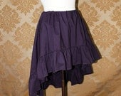 "High Low Mini Cecilia Skirt -- Eggplant Cotton -- Ready to Ship -- Fits Up To 38"" Waist"