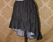 "High Low Mini Cecilia Skirt -- Grey and Black Skull Damask -- Ready to Ship -- Fits Up To 38"" Waist"