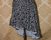 "High Low Mini Cecilia Skirt -- Black/Grey Doctor Who Logo Print -- Ready to Ship -- Fits Up To 38"" Waist"