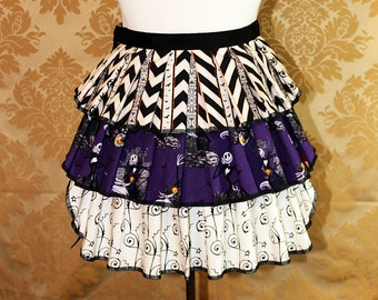 """Ruffle Bustle Overskirt - 3 Layer, Sz. XS - Nightmare Before Christmas Prints - Best Fits Up to 34"""" Waist or Upper Hip -- Ready to Ship"""