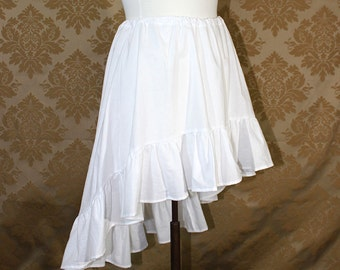 "High Low Mini Cecilia Skirt -- White Cotton -- Ready to Ship -- Best Fits Up To 38"" Waist"