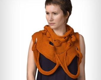 Knitted cotton scarf - orange abstract vest - knitted woman accessories