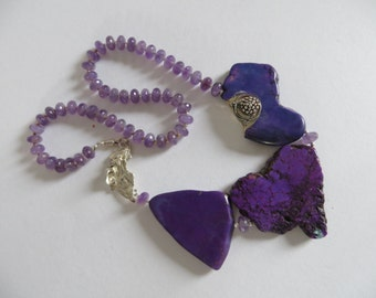 Purple agate and Amethyst statement Necklace - silver unique clasp - Boho jewelry - Agaath necklace