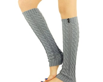 GREY Leg Warmer grey boot socks cable knitted leg warmers light grey socks cute legwarmers grey tall boot socks Wooden Buttons knitted socks