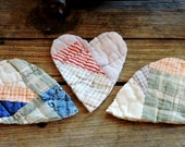 Cutter Quilt Hearts Prim Appliques Old Primitive Patchwork Quilted Fabric Cutouts Valentine Scrapbook Crafting Embellishments itsyourcountry