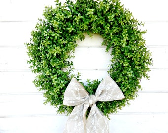 BOXWOOD Wreath-Summer Wreath-Fall Door Wreath-Outdoor Wreath-Faux Boxwood Wreath-Wedding Wreath-Home Decor-SCENTED Wreath-Custom USA-Gifts