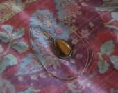 Tigers Eye Teardrop Cabochon Necklace Silvertone Chain Gemstone Choker