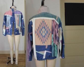 Pastel FRINGED Leather Denim JACKET / Southwest Bomber Jacket / Women's Vintage Coat