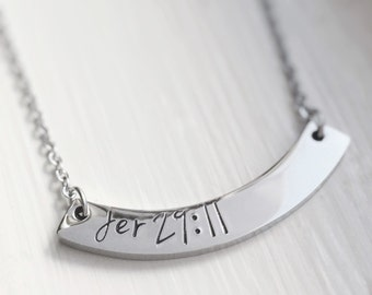 Curved Bar Necklace Silver Personalized Bible Verse Name Date Custom Stamped Jewelry