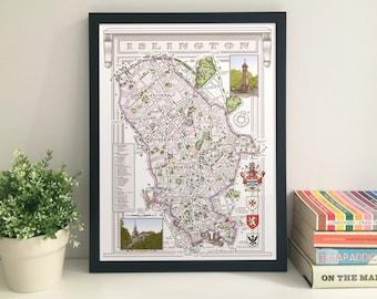 Islington (Borough) illustrated map giclee print