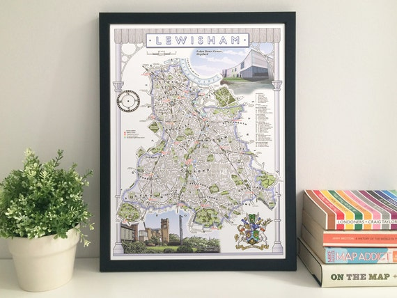 Lewisham (Borough) illustrated map giclee print