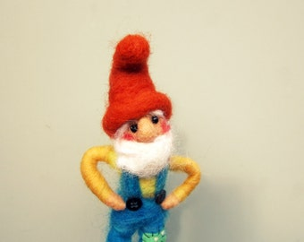 gnome doll sculpture needle felted young gnome boy with a red toadstool felt mushroom fiber art