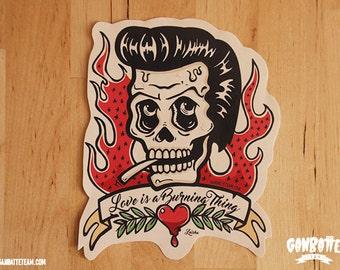 Johnny Cash Skull Sticker Johnny Cash illustration Ring Of Fire Lyrics by Ganbatte Team Big Sticker