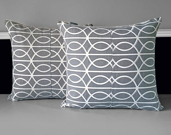 SAMPLE SALE Pair of Pillow Covers - Dwell Studio Bella Porte Charcoal, Ready to Ship