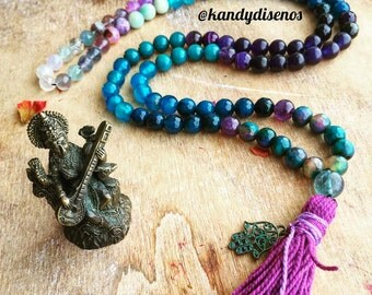 Custom 108 Mala Necklace with tassel. Handmade Agate Mala Necklace. Custom Yoga Necklace. Meditation Jewelry. One of a kind