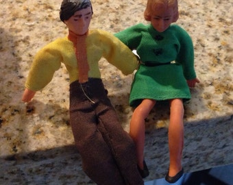 Doll house bendable Dolls mom and dad set  4 inches