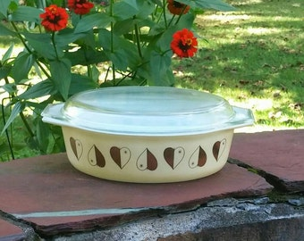 Vintage Pyrex 1950s Rare Golden Hearts Promotional Casserole with Lid