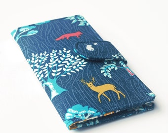 Womens Wallet, Vegan Wallet, Woodland Theme, Deer, Fox, Rabbit, Navy