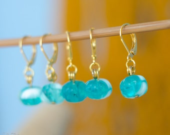 Crochet Stich Markers - set of 6 - gold and turquoise flower knitting stitch markers