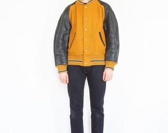 60s Mustard Yellow, Black Leather Sleeve Wool Varsity Jacket / Coat