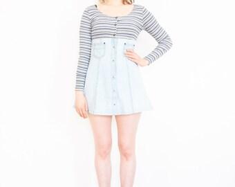 90s Rib Knit Denim Baby Doll Dress / Mini Dress