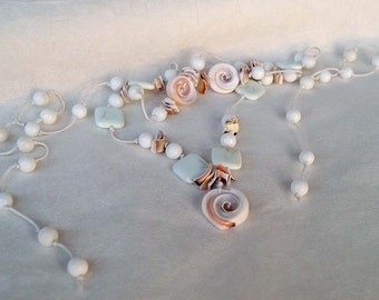 Mediteranian Stone Shell Necklace, Long Necklace, Pastel Color Agathe & Turquoise Stone Necklace, Shell Belt