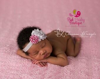 Easter Baby Headband - Silver Pink Headband - Baby Hairbows - Infant Headband - Easter Headband - headband baby - Baby bows