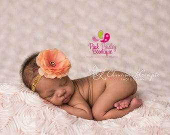 Orange and Gold Baby Headband - Coral and Gold 1st Birthday - Baby Hairbow - Gold hair Bows - Gold Bows -headband baby -Baby bows Sparkle