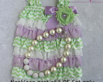 Baby Girl Petti Romper - 3 pc SET- MInt & Lavender Baby Romper- Baby Girl Rompers -Ruffle Rompers - 1st Birthday Outfit - Cake Smash Outfit