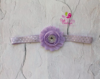Lavender Baby Headbands. Purple Hair Bows, Light Purple Headband, Baby Girl Headband, Polka Dot Headband, Baby Hairbows, Baby Shower Gift