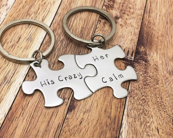His Crazy Her Calm, Couples Keychains, anniversary gift, gift for him, gift for her, puzzle piece keychains, Cute Gift Idea, Fiance Gift