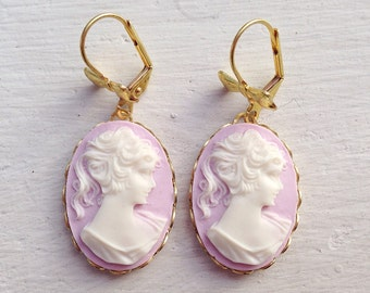 Cameo Earrings/Purple Earrings/Purple Cameo Earrings/Light Purple Earrings/Gifts For Her/Bow Earrings/Victorian Earrings/Lilac Earrings