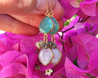SALE Rainbow Moonstone Earrings // Aqua Chalcedony, Labradorite Dangle, Gold Bezel Gemstone, Teardrop, Mint Green, White, Gray
