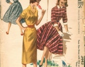 Great Vintage 1955 McCall's 3443 Easy-To-Sew Shirtwaist Dress with Full or Slim Skirt Sewing Pattern B30