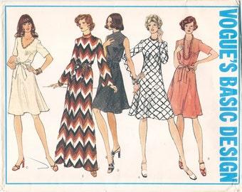 Nice Uncut Vintage 1970s Vogue Basic Design 1030 Flared Dress in 5 Versions Sewing Pattern B40