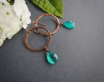 boho style copper earrings, turquoise hoop earrings, dangle earrings, hippie style, rustic style, gift for her, summer jewelry, colorful