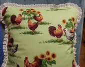 Chickens Sunflowers Vintage Crochet Lace  Vintage white Lace14x14  pillowcover