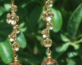 Stunning faceted czech glass and golden flowered earwires, SRAJD