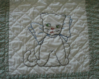 Embroidered Puppy and Kitten with Bows Quilt