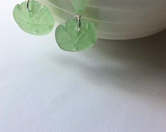 Seafoam Green Sand Dollar Beach Glass Earrings