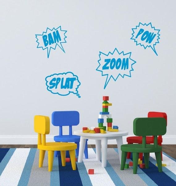Cartoon Comics Word Bubble Wall Decals - Comics Decor -  Bam Zoom Pow Splat Set of Four Comics Super Hero Kids Room Vinyl Wall Decals 22188
