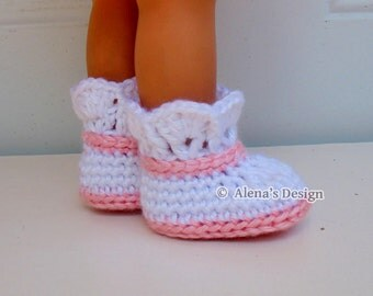 Crochet Pattern 142 Crochet Boot Pattern for 18 inch Doll Crochet Patterns Pink and White Boots for American Doll 18 in Dolls Gift for Girl