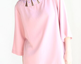 vintage bob mackie pink tunic top