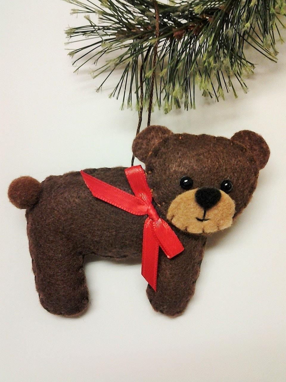Felt Brown Bear Christmas Ornament Personalized Ornament