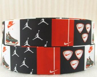 "Black, Red and White 1"" Jordan/Nike Pick Grosgrain Ribbon"
