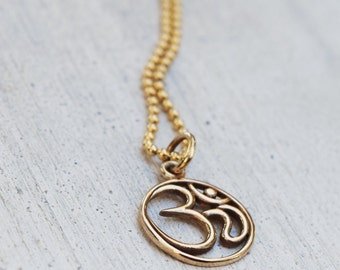 Om Necklace - Gold Fill Chain -  Bronze Om Pendant - Fall - Autumn - Gift For Her - Bohemian - Yoga Jewelry