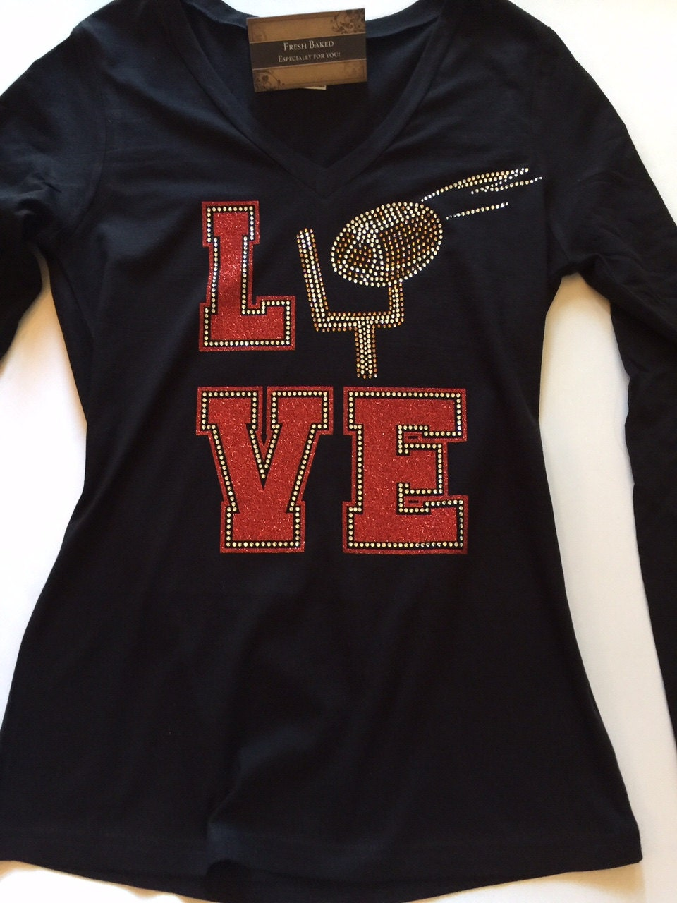 Love Football Bling Custom Rhinestone T Shirt